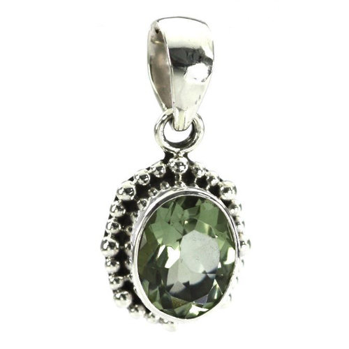 Padma beaded oval green amethyst pendant the gem shop padma beaded oval green amethyst pendant aloadofball Images