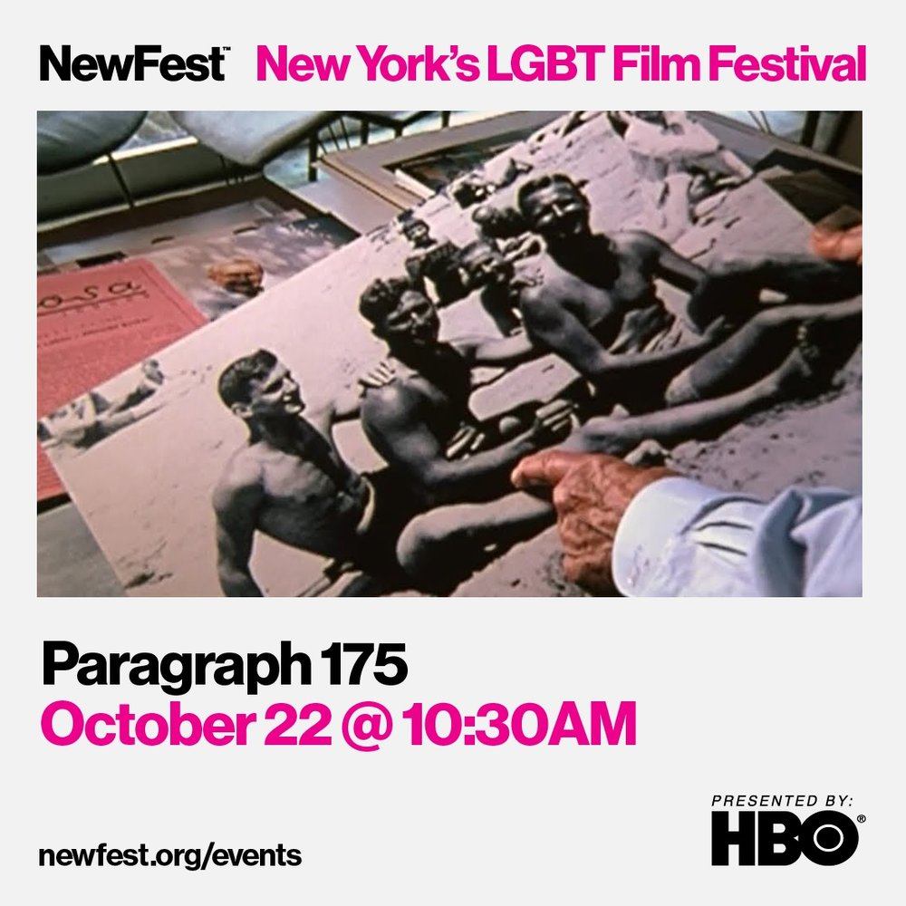 Rob Epstein will be present at two screenings for this year's NewFest: On October 21, Rob will participate in an extended post-screening panel for DIFFERENT FROM THE OTHERS (1919) on the film's significance in the queer cinema canon. He'll speak alongside Noah Isenberg, Professor of Culture and Media at the New School's Eugene Lang College of Liberal Arts; film journalist Manuel Betancourt and Ashley Swinnerton, Collection Specialist, Department of Film at MoMA. PARAGRAPH 175 will screen on October 22 at 10:30am at Cinépolis Chelsea (formerly Bow Tie). Rob Epstein will be present for a Q&A following the screening.
