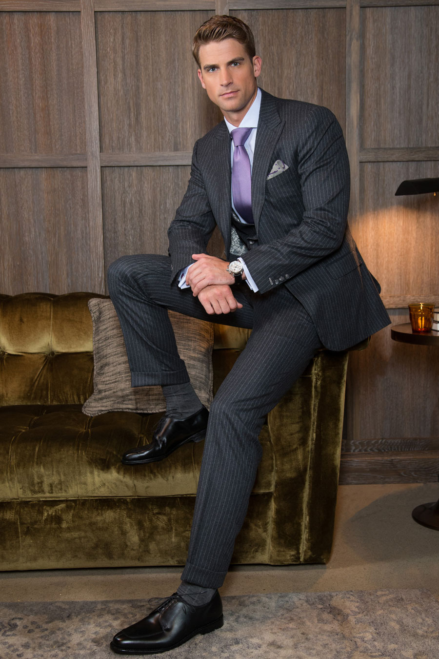 Pinstripe-Slacks-Cuffs-Custom-Balani-Charcoal-Suit-Lavender-Tie-Velvet-Couch-Wood-wall-Chicago-900.jpg