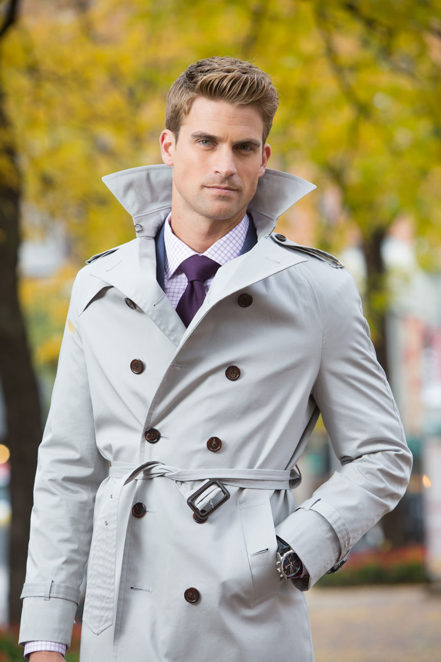 Grey-Double-breasted-Custom-Trenchcoat-Outerwear-Tailormade-Lavender-Checked-Shirt-Purple-Tie-Fall-Leaves-Balani-Chicago-900.jpg