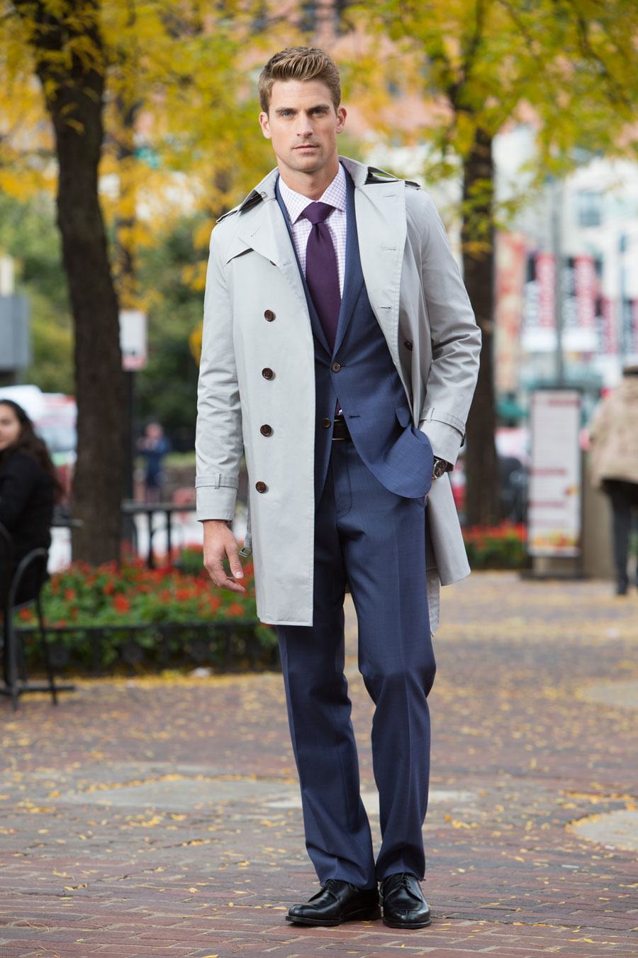 Grey-Custom-Trenchcoat-Outerwear-Navy-Tailormade-Suit-Lavender-Checked-Shirt-Purple-Tie-Fall-Leaves-Balani-Chicago-900.jpg.jpg