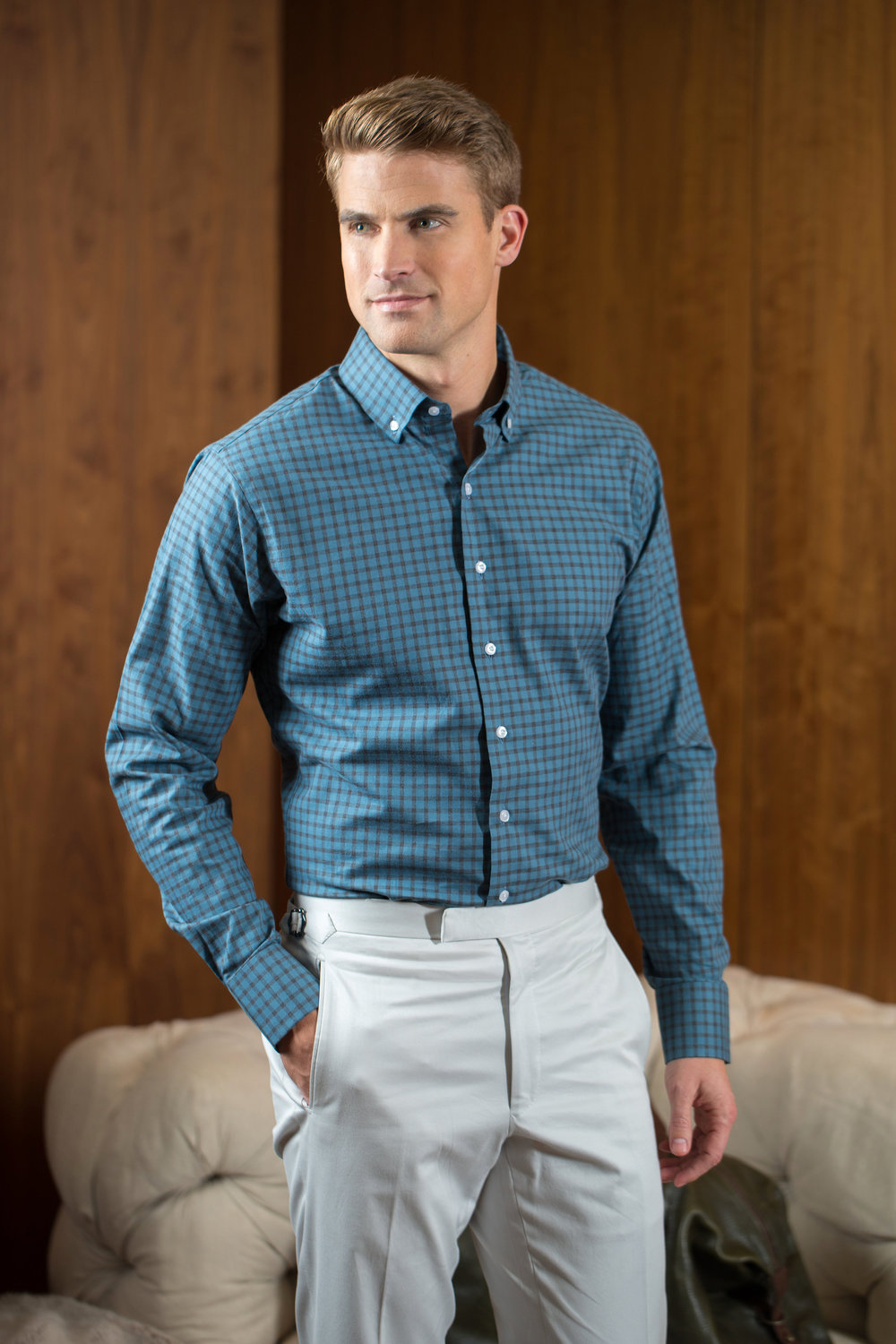Balani_Custom_Tailored_Teal_Check_Buttondown_Shirt_Khaki_Pants_Custom_Bespoke_Chicago.jpg
