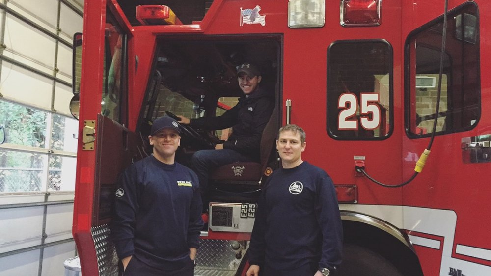 Thanks to Fire Fighters Matt & Kevin for making Manny's dreams come true (he had been wanting to sit inside a truck the entire day)! Fun Fact: Kevin (pictured on the right) & his wife love to make a date out of their day to come to the Maltby Café and the Scoop Shop.