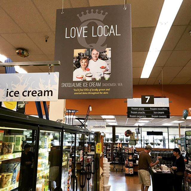 @qfcgrocery is a great place to find our ice cream! The owners of Snoqualmie Ice Cream Barry & Shahnaz are featured on QFC's Love Local banner in the ice cream aisle!!!