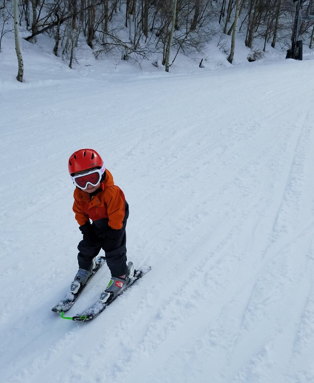 No pictures of me skiing so you get to see my adorable 3 year old rippin it up.