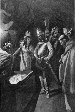 The Lady of Cofitachequi showing Hernando de Soto her 'treasure' | Source: Native History Association