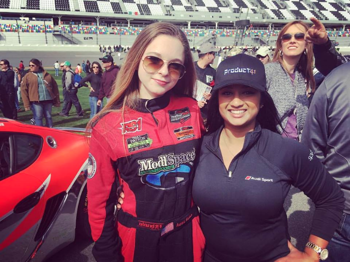 Malee with Aurora Strauss at Daytona's Rolex 24