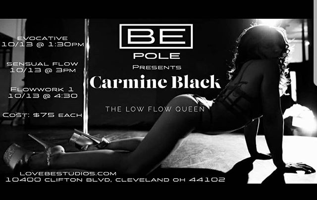 Workshop Update! This OctoberI will be visiting #Ohio and teaching 3 workshops at the lovely @bestudios 💓 If you're free and would like to dance with me. I'd love to see you there! #cleveland #movement #flow #dance #dancer #poledance #unitedbypole #carmineblack #play #fitness #workshops #workout #bestudios