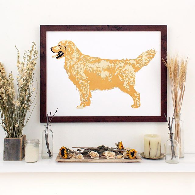 Here's a golden pup to match this golden day we are having! I just love bright sunny days! ❤🐾☀️ If you'd like one of these handmade golden retriever screen prints for yourself, you can snag one from wolfjawpress.com. Happy shopping! . . . . #wolfjawpress #goldenretriever #goldenretrieversofinstagram #goldensofinstagram #retrieversofinstagram #birddogoftheday #retrieversgram #retrieveroftheday #gundog #akc #akcgoldenretriever #homedecor #goldenretrievers #retrieverlovers #pocketofmyhome #shelfie #instagood #finditstyleit