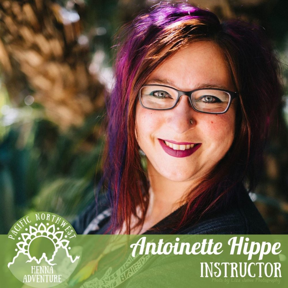 "Antoinette Hippe - @antoindotnetAntoinette Hippe has been hennaing people for nearly 20 years, with a popular henna studio in Seattle since 2011 and a wide festival following in the Puget Sound area. She's been known for her breakthrough work in henna realism (remember Grumpy Cat?) and recently for her Instagram Live series ""Magpie Mondays"". She loves teaching, with a long history of classes at Henna Con and other regional events, and is looking forward to working with you! Her website is www.antoin.net and you can visit any social media at @antoindotnet to see more of Magic Magpie Henna Studio and Antoinette's fun style!"
