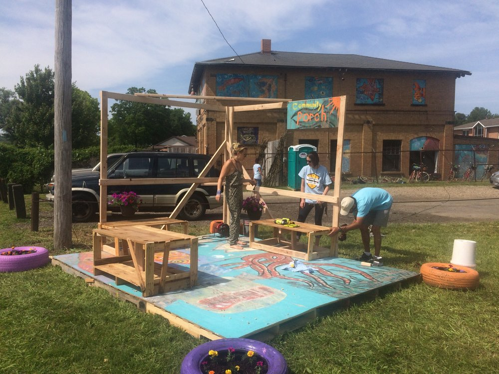 League Fellows worked with Summit Lake Build Corps members to create a stage in a vacant lot