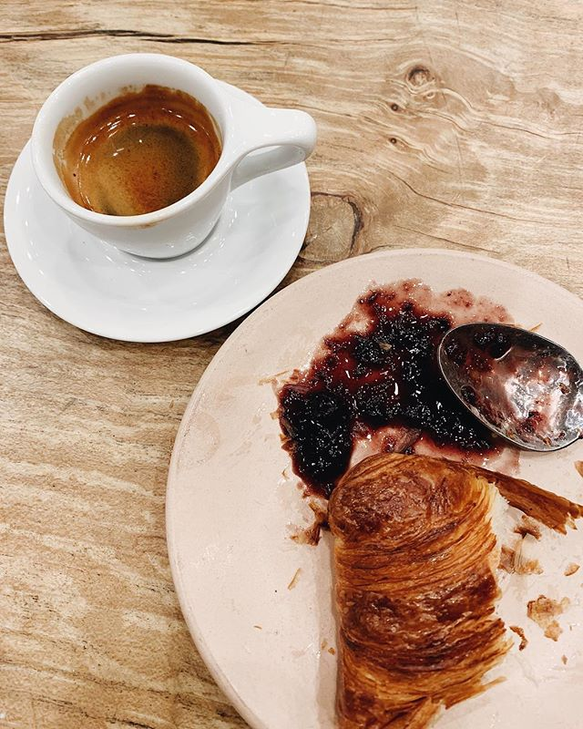 One of my favourite things: after work croissant and espresso with special guest, seasonal jam. All from @matchstickyvr 🥐 #yvr #coffee