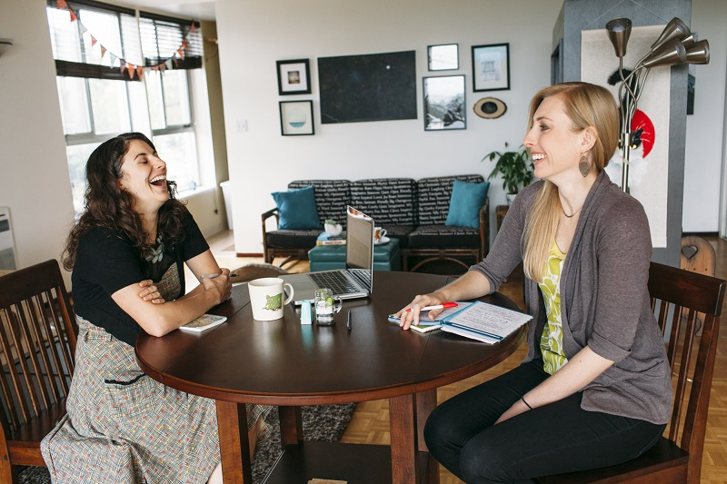 Alicia Ostarello and Angie Sommer, writers and co-founders of Vow Muse, a writing business focused on custom marriage vows and speeches, Oakland, Calif., May 27, 2015. Credit: Peter Earl McCollough