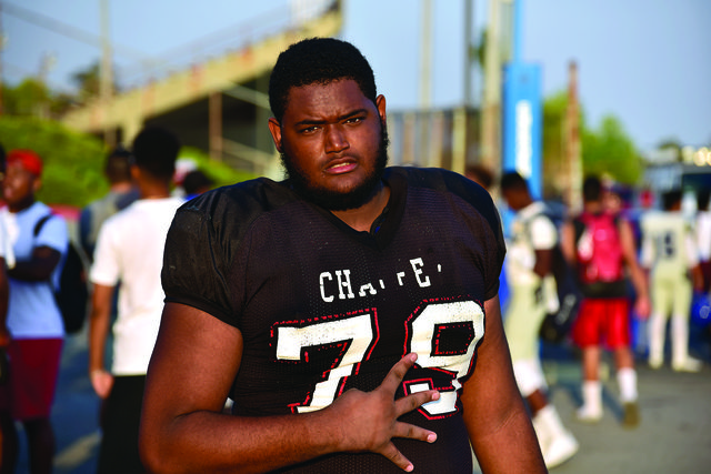 Ronald Rudd III, left tackle, on Thursday evening after scrimmage against SBVC. Photo by Michael Ravenelle.