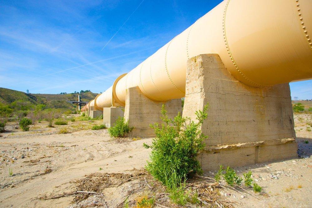 Pipeline runs through a desert wash in southern California.