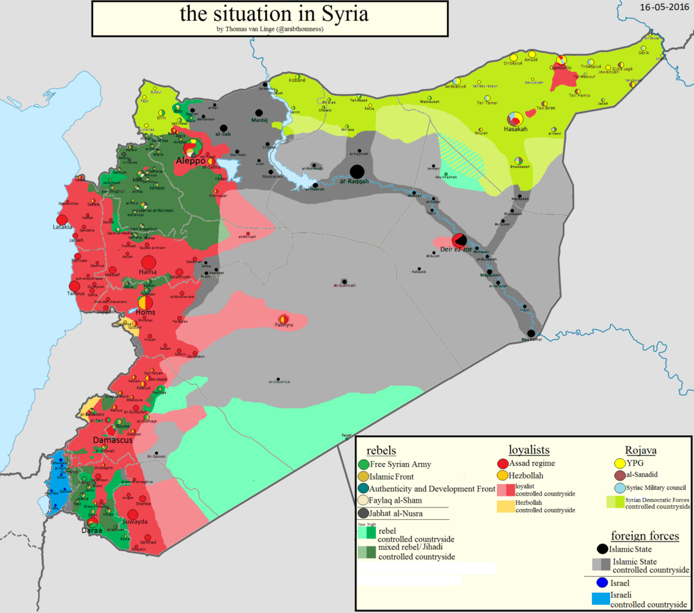 Map of the Syrian conflict as of May 2016.