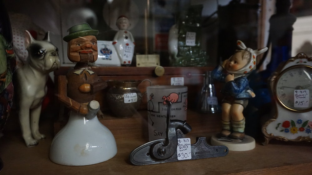 The antique toy on the left was pointed out by customer Bob Dorantes. Photo by Daniel Steele.