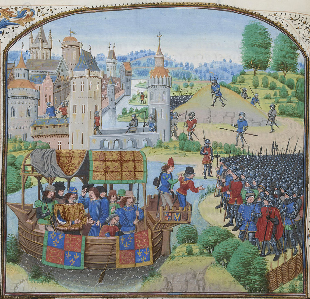 Richard II meeting with the rebels of the Peasants' Revolt of 1381. By Jean Froissart.