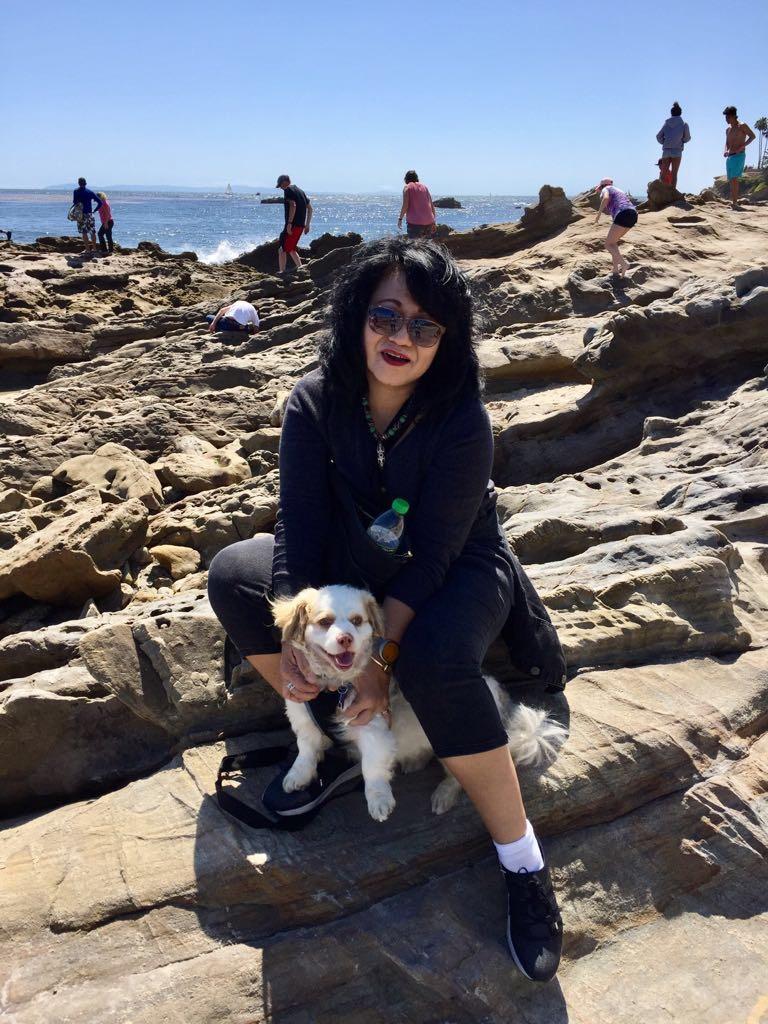 Debora Tampubolon with her dog Mocha.