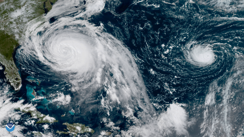 Hurricanes Maria and Lee in the Atlantic. Photo courtesy of noaa.gov