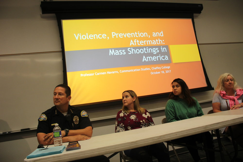Chaffey College Chief of Police Frank Martinez, Sally Cardinale, Jessica Martinez  and Professor Carmen Navarro speaking at the forum. Photo/Hector Solozano