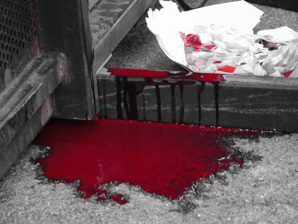 Bloodshed by injured stage jumper