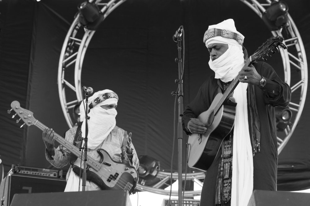 Alhassane Ag Touhami and Abdallah Ag Alhousseyni of North African band Tinariwen