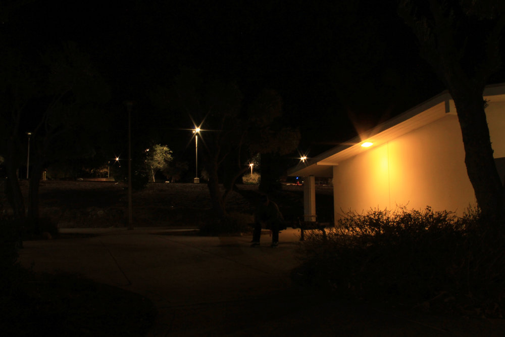 A light out between the Social Sciences and Language Arts building at Chaffey college creates shadows far and wide.