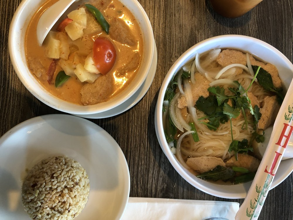 "ext stop, Bright Star Thai Vegan restaurant by the Foothill and Ramona street. These bowls contain : ""Pineapple Curry,"" with soy chicken, and ""Pho"" with soy chicken. (Sorry such a fan with soy chicken). Along with brown rice for the curry."