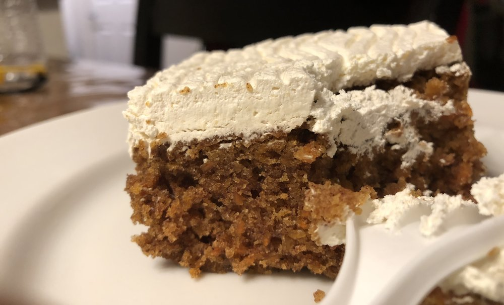 "The ""Carrot Cake,"" was dry, but thats okay make yourself a nice warm coffee to team up with the cake."