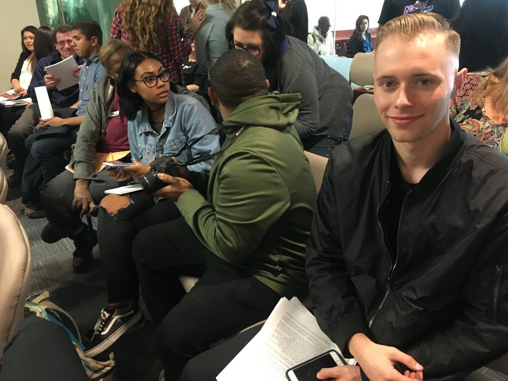 Blake Burum, VP of Chaffey Student Government supporting the President and student body at the Monthly Chaffey College Board Meeting, January 25. 2018. Had student benefits in mind like helping with student homelessness. Photo by Kris Tashjian