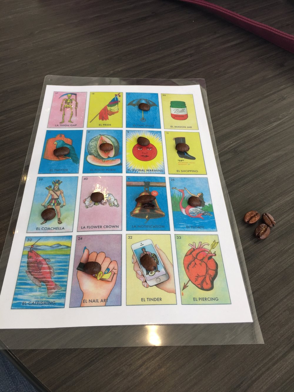 The recreated version of the loteria board consists of images representing today's trends well-known by millennials.