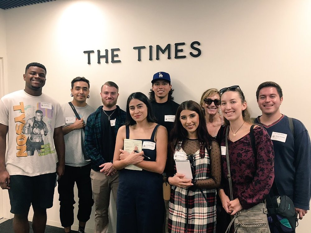 The Breeze  student journalists group photo inside  The Los Angeles Times.  Photo Courtesy: Raylene Camerano