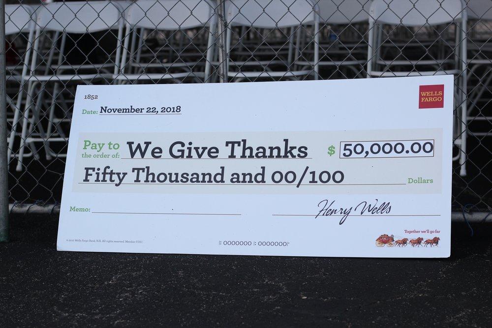 Wells Fargo donation.