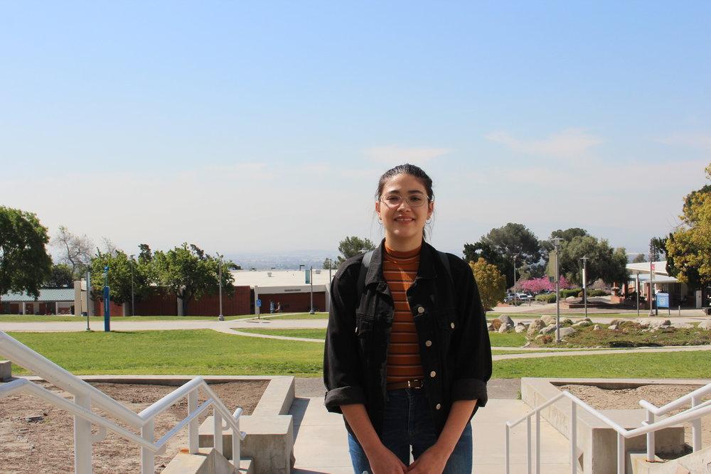 Student Daniela Fabian at Chaffey Community College. Photos by Paris Barraza.
