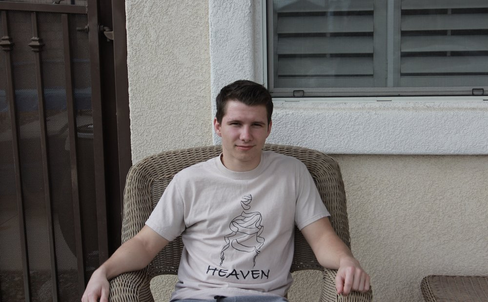 Student Triston Stark outside his home in Rancho Cucamonga.