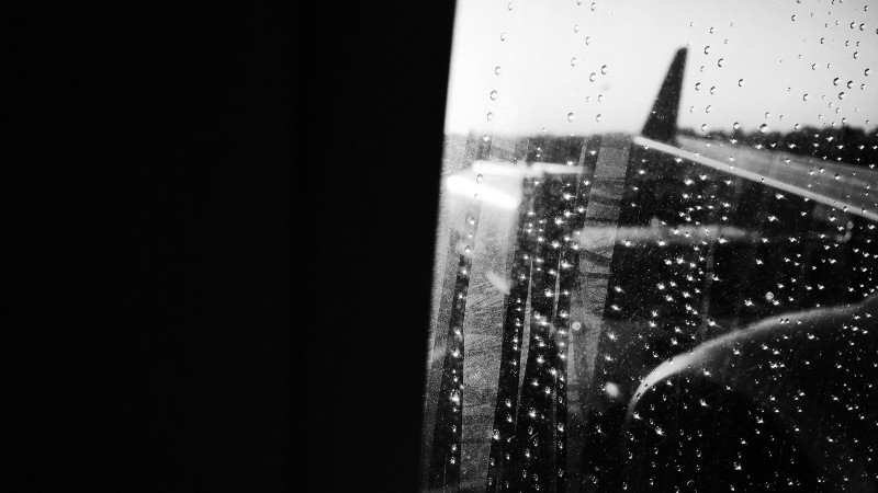 The view from a window on a plane at La Guardia Airport in New York City.