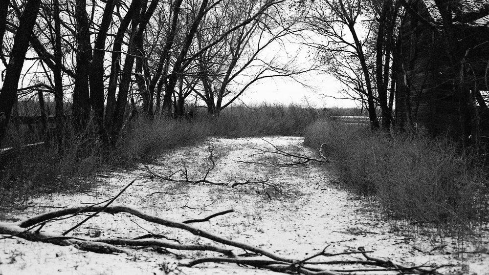 A desolate place along a road in rural Nebraska.
