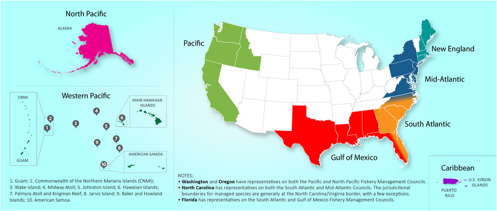 US Regional Fishery Management Councils - 5 us regions map