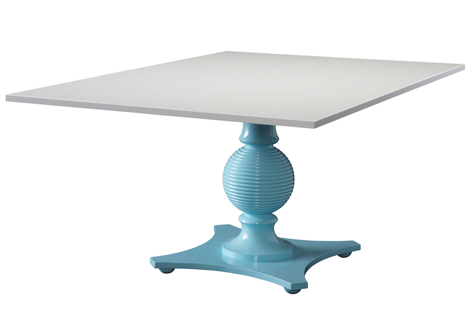 Capstan II - A custom turquoise base with added feet topped with white lacquer.