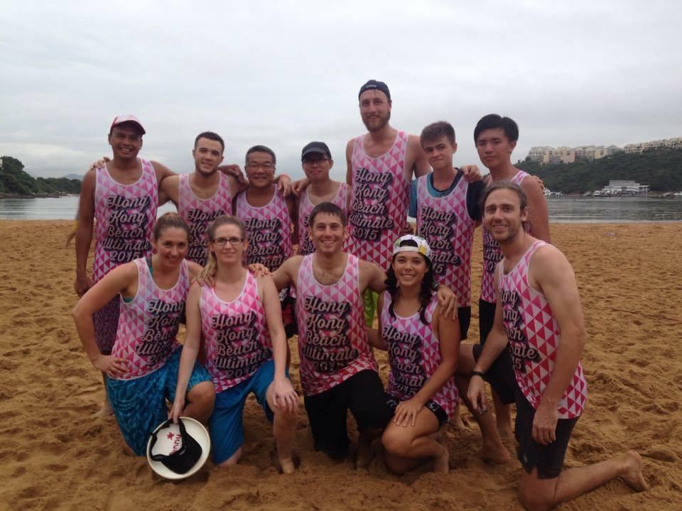 Evan (center) and teammates at the 2015 Hong Kong Beach Hat