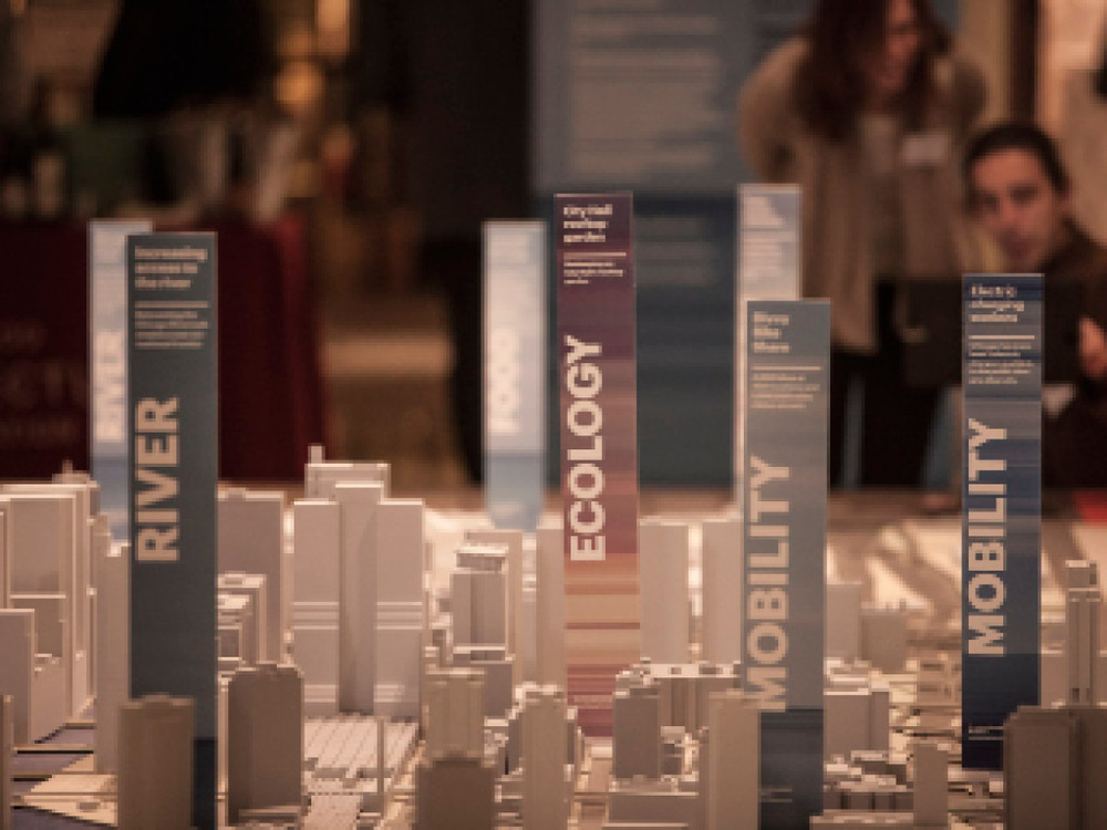 To incorporate the 3D Chicago city model and the Great Lakes vision, plinths were designed to encourage viewers to consider the relationship between their city and watershed.