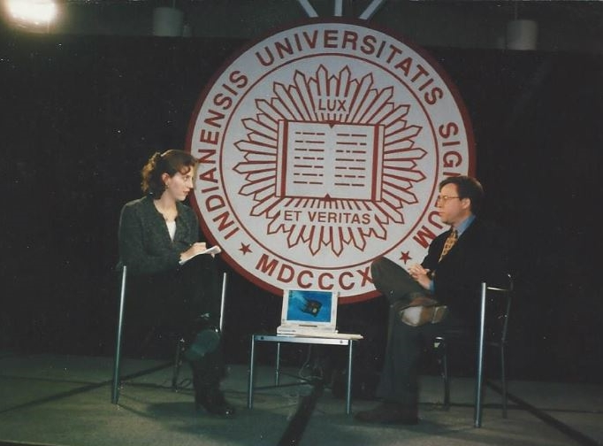 Interviewing Bob Costas prior to his Bob Knight interview at Indiana University.