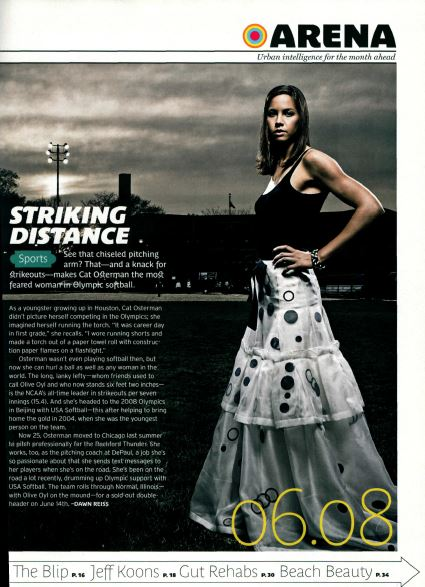 See that chiseled pitching arm? That—and a knack for strikeouts—makes Cat Osterman the most feared woman in Olympic softball.