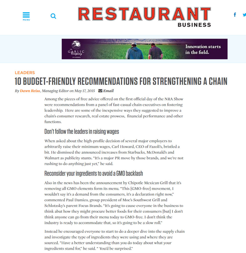 Advice from the annual National Restaurant Association Show in Chicago. Here are some of the inexpensive ways they suggested to improve a chain's consumer research, real estate prowess, financial performance and other functions.