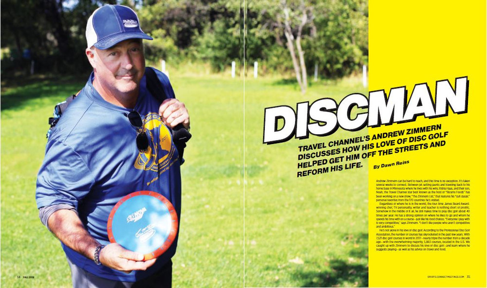 Talking with the Travel Channel's Andrew Zimmern about places he likes to play disc golf.