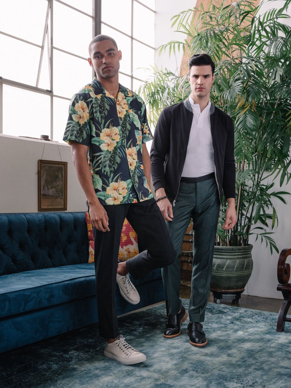 Model - Jason Baker (LA Models)  Made to Measure Shirt and Pants.  Model - Gil Soares (LA Models)  Knitwear Bomber Jacket and Polo Shirt. Made to Measure Trousers  Klein Epstein & Parker - TriBeCa (New York City)