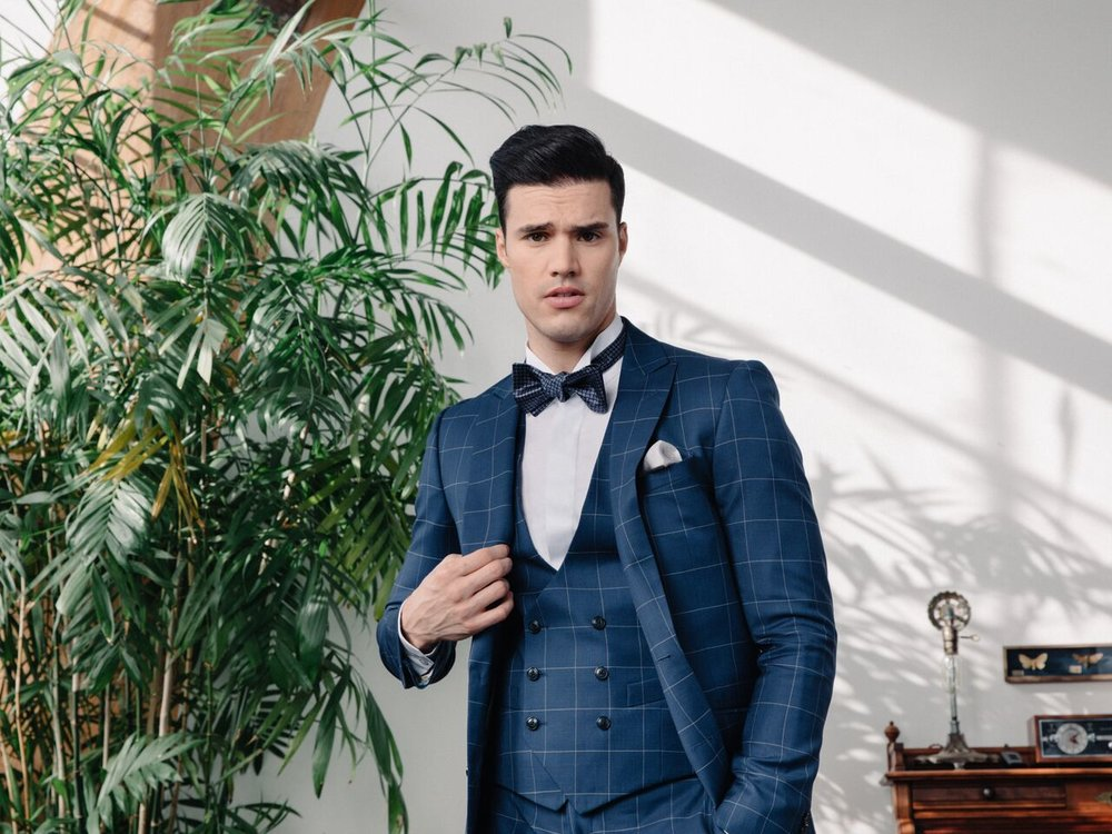 Model - Gil Soares (LA Models)  3 Piece Made to Measure Suit. Ready-to-Wear Accessories.  Klein Epstein & Parker - West Hollywood