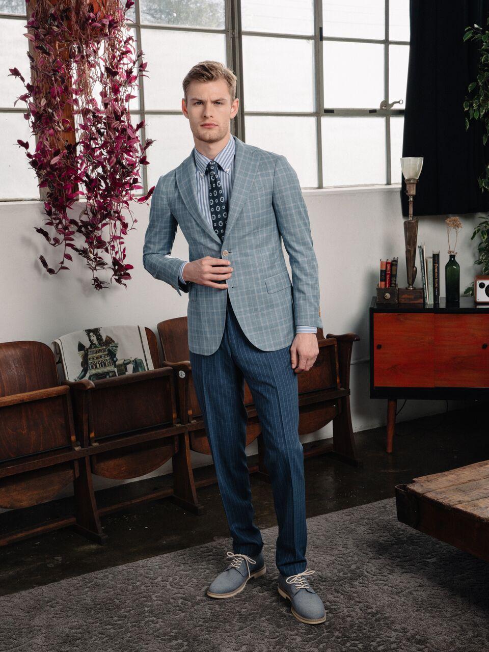 Model - Noah Teicher (LA Models)  Made to Measure Suit. Ready-to-Wear Necktie  Klein Epstein & Parker - Newport Beach