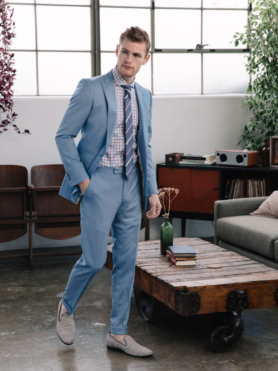 Model - Noah Teicher (LA Models)  Made to Measure Suit. Ready-to-Wear Necktie  Klein Epstein & Parker - San Francisco